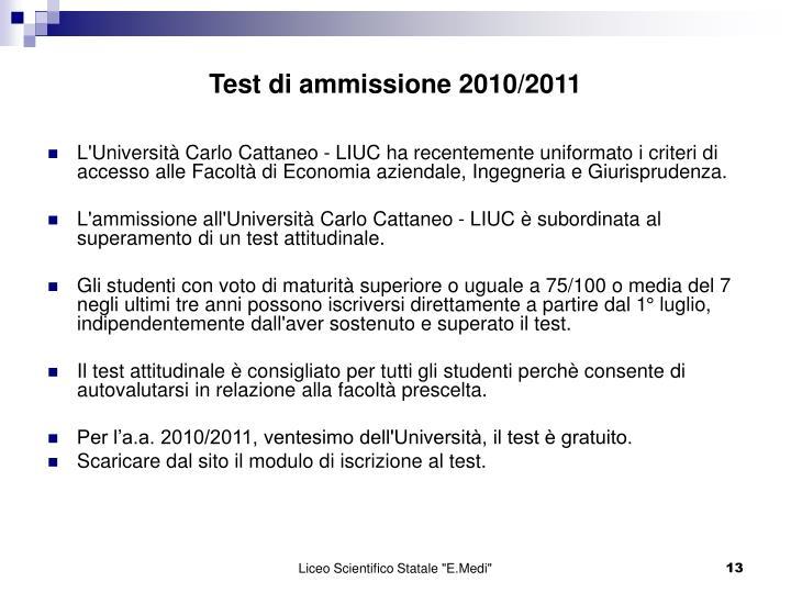 Test di ammissione 2010/2011