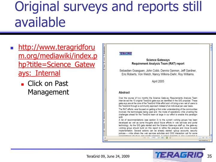 Original surveys and reports still available
