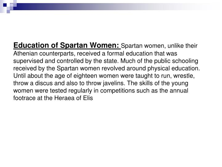 Education of Spartan Women:
