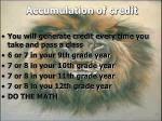 accumulation of credit