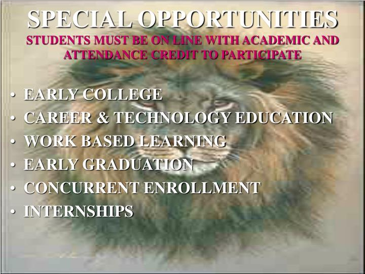 SPECIAL OPPORTUNITIES