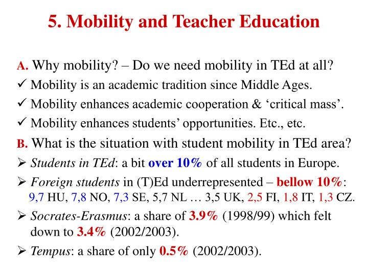 5. Mobility and Teacher Education