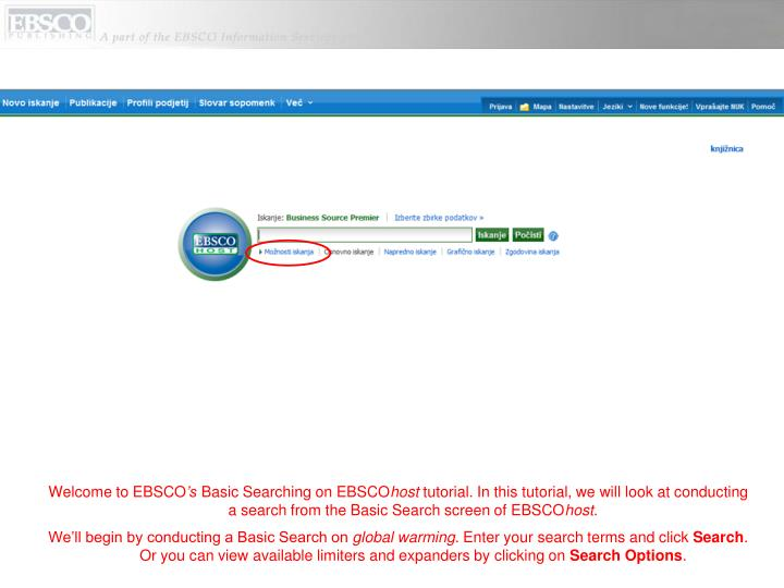 Welcome to EBSCO