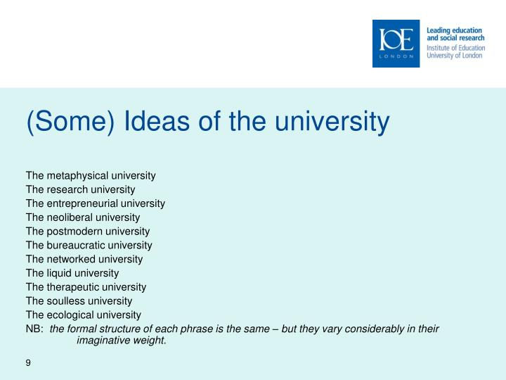 (Some) Ideas of the university
