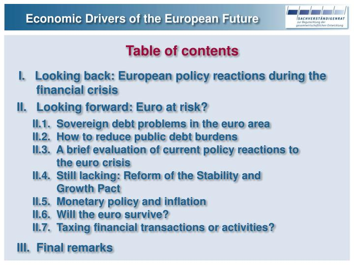 Economic Drivers of the European Future