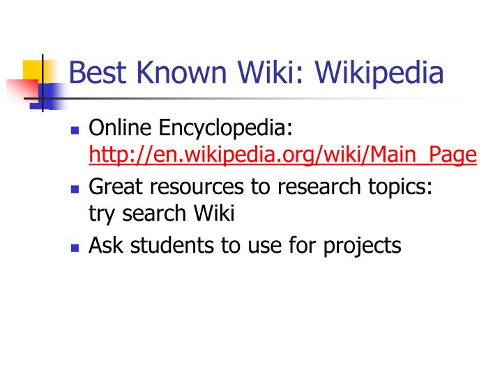 Best Known Wiki: Wikipedia