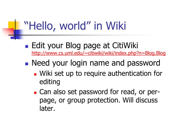 """Hello, world"" in Wiki"