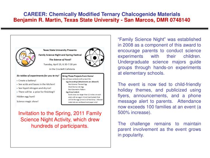 CAREER: Chemically Modified Ternary Chalcogenide Materials