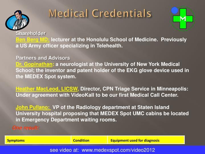 Medical Credentials