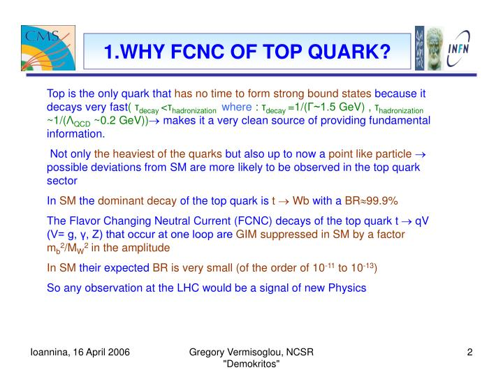 1.WHY FCNC OF TOP QUARK?