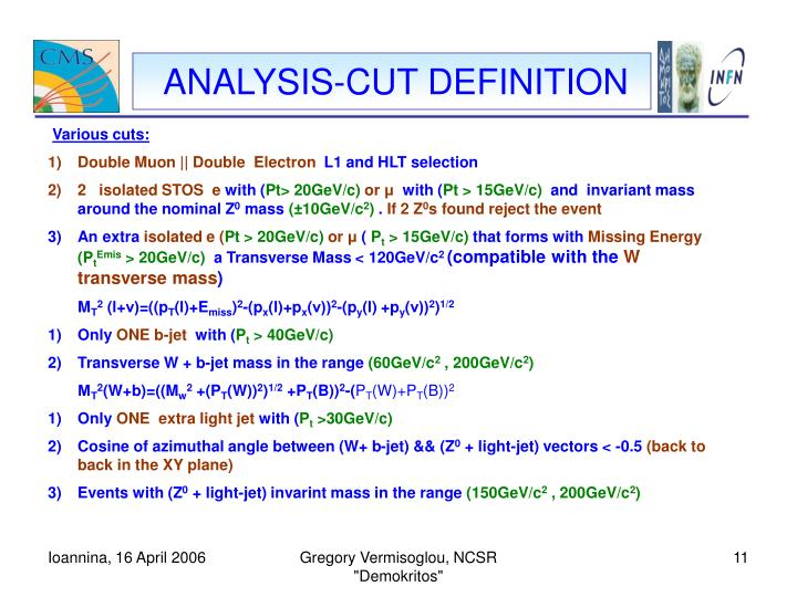 ANALYSIS-CUT DEFINITION