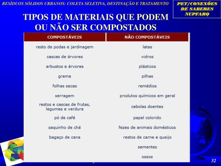 TIPOS DE MATERIAIS QUE PODEM OU NÃO SER COMPOSTADOS