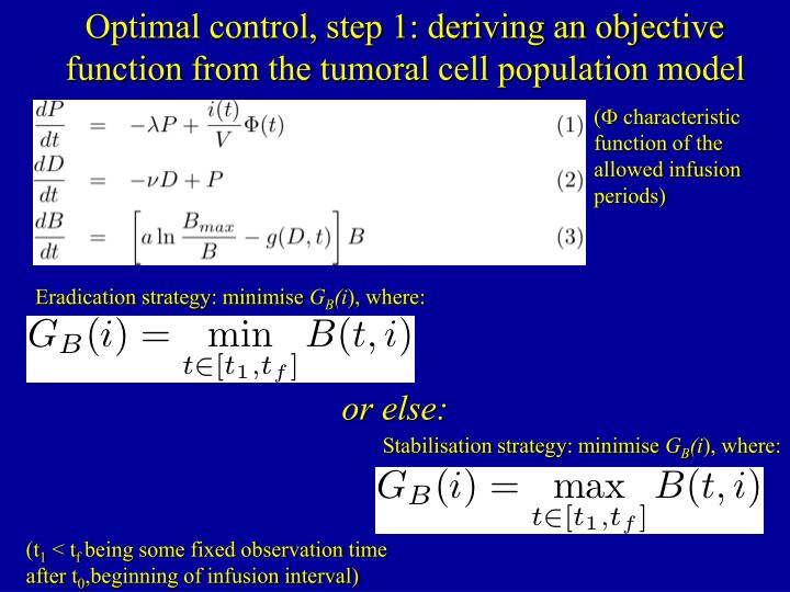 Optimal control, step 1: deriving an objective function from the tumoral cell population model