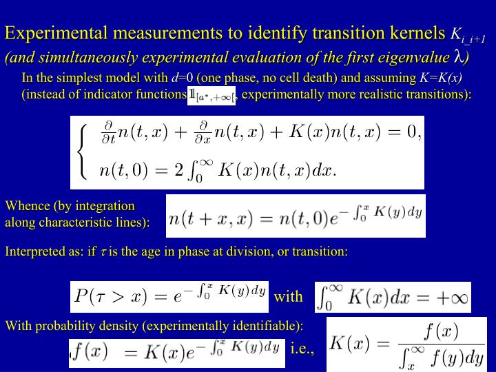 Experimental measurements to identify transition kernels