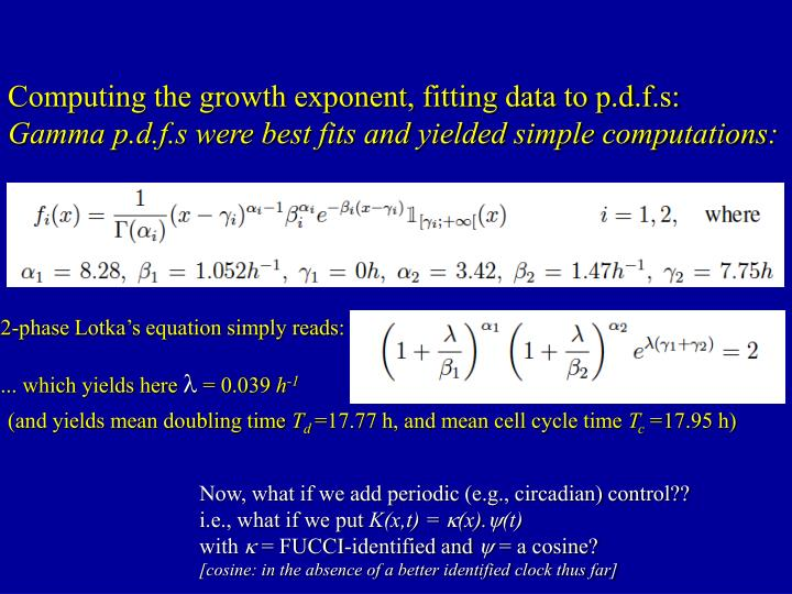 Computing the growth exponent, fitting data to p.d.f.s: