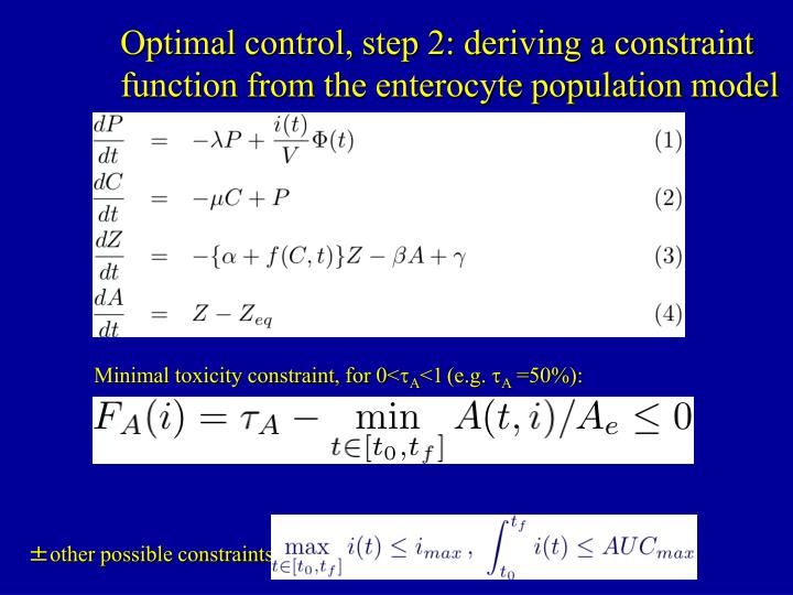 Optimal control, step 2: deriving a constraint