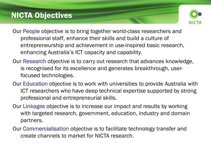 NICTA Objectives