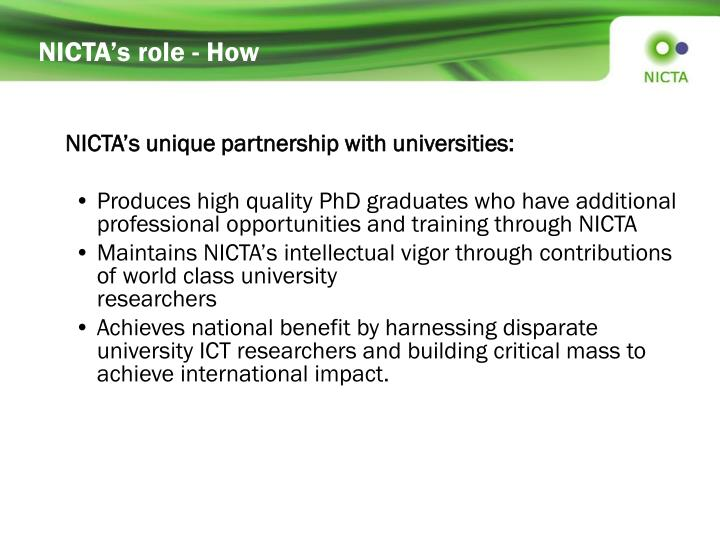 NICTA's role - How