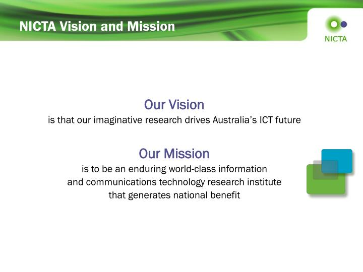 NICTA Vision and Mission