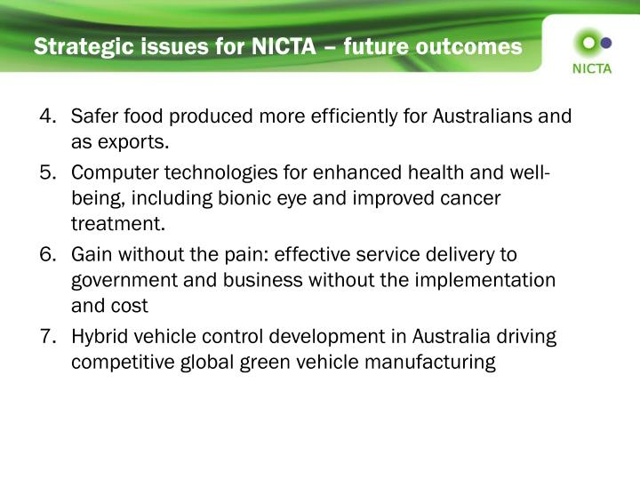 Strategic issues for NICTA – future outcomes