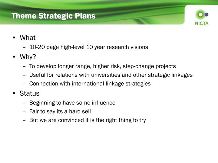 Theme Strategic Plans