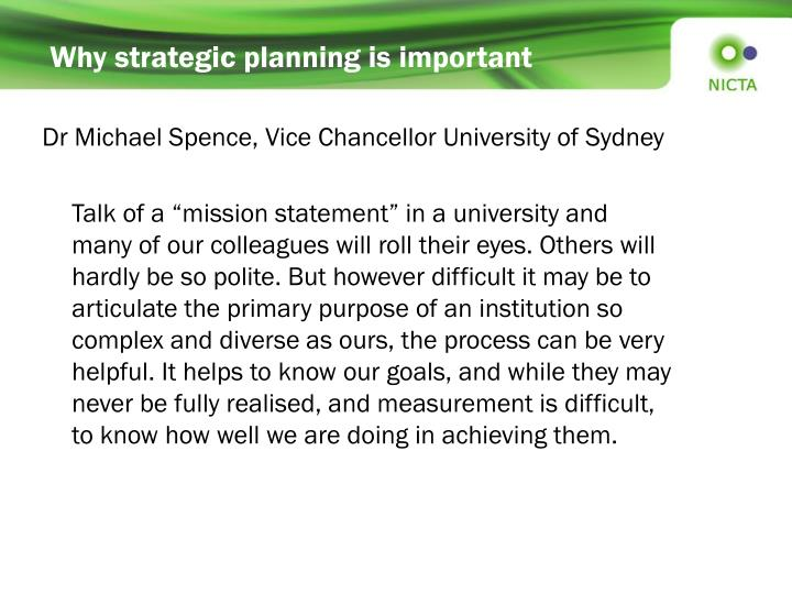 Why strategic planning is important