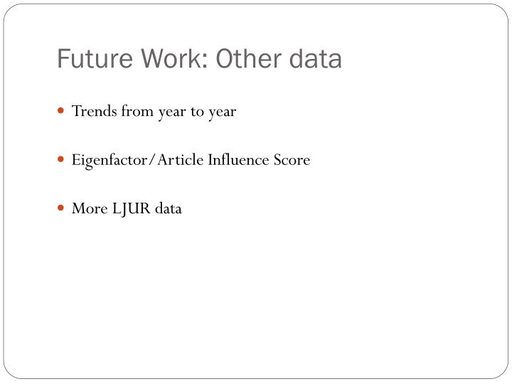 Future Work: Other data