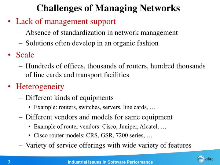 Challenges of managing networks