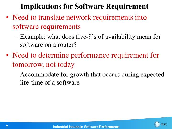 Implications for Software Requirement