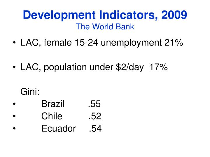Development Indicators, 2009
