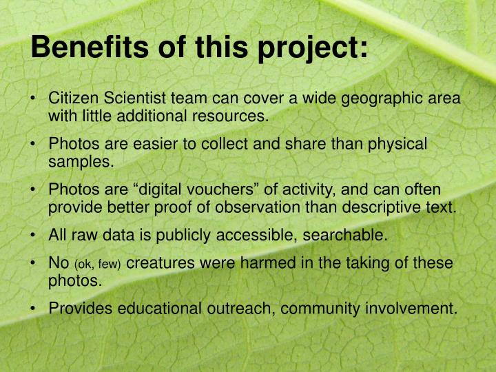 Benefits of this project: