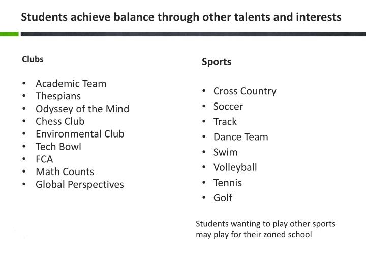 Students achieve balance through other talents and interests