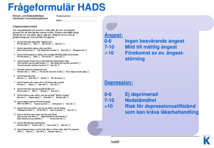 Frågeformulär HADS