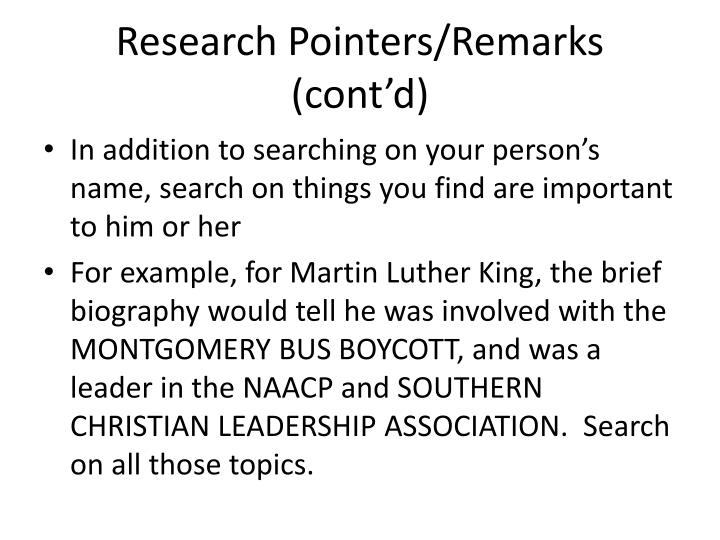 Research Pointers/Remarks (cont'd)