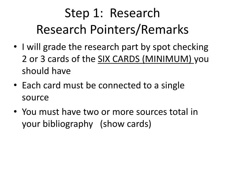Step 1 research research pointers remarks