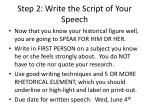 step 2 write the script of your speech