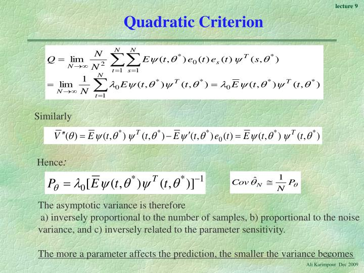 Quadratic Criterion