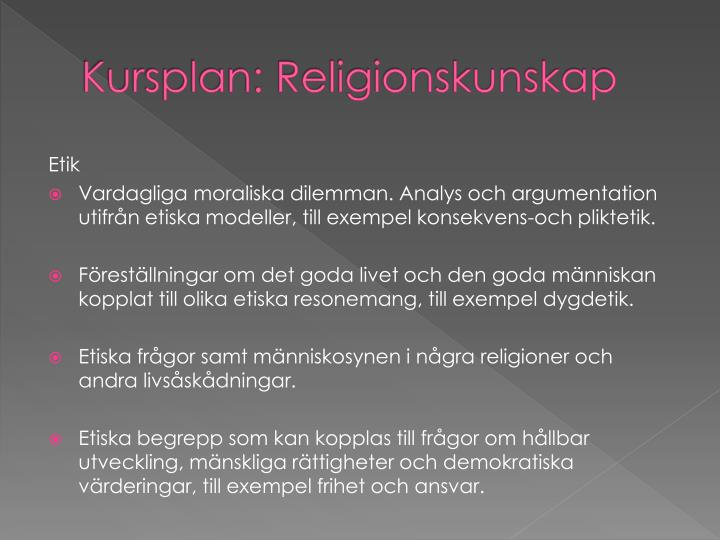 Kursplan: Religionskunskap