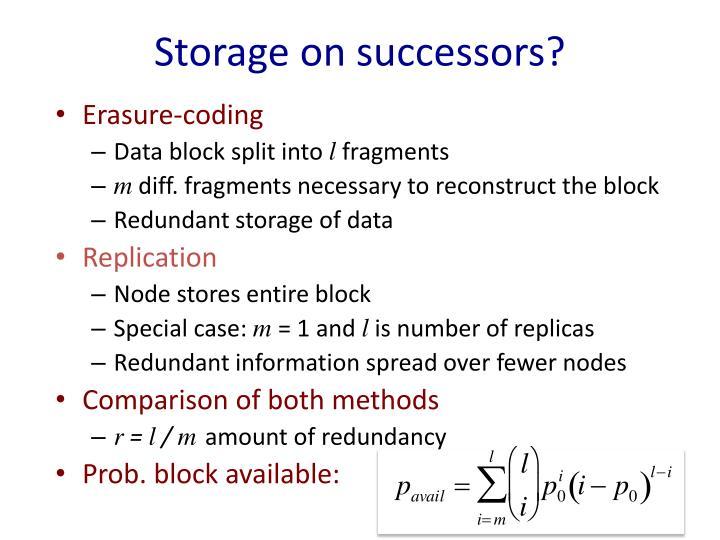 Storage on successors?