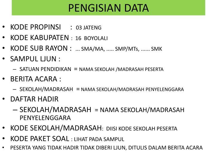 PENGISIAN DATA
