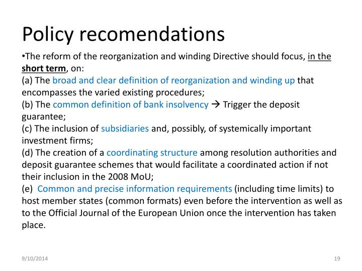 Policy recomendations