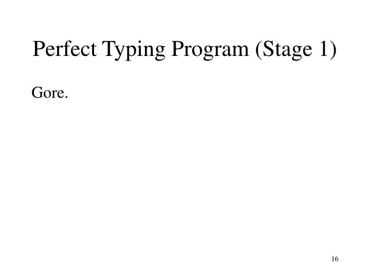 Perfect Typing Program (Stage 1)