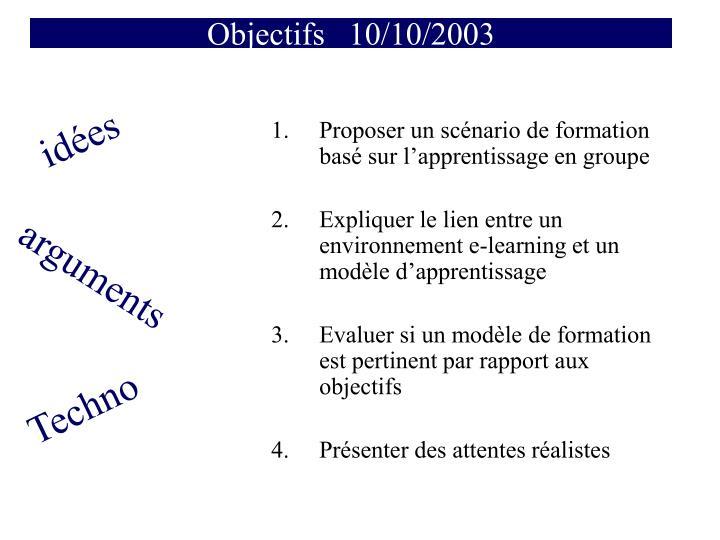 Objectifs   10/10/2003