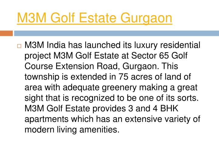 M3M Golf Estate Gurgaon