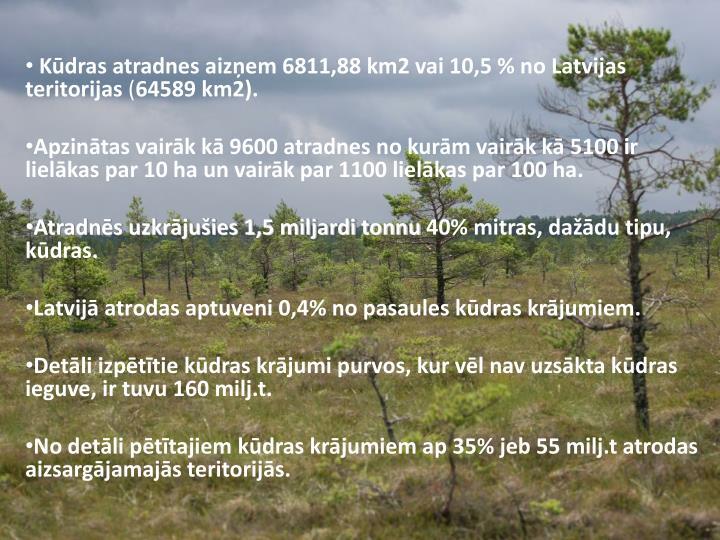 Kūdras atradnes aizņem 6811,88 km2 vai 10,5 % no Latvijas teritorijas