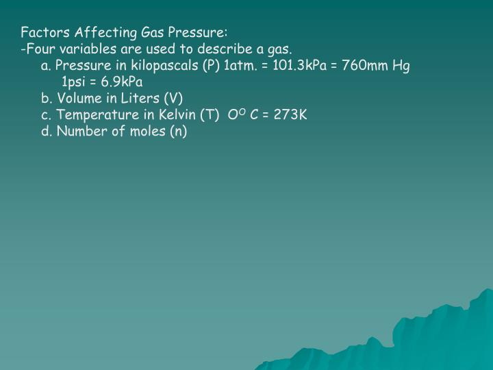 Factors Affecting Gas Pressure: