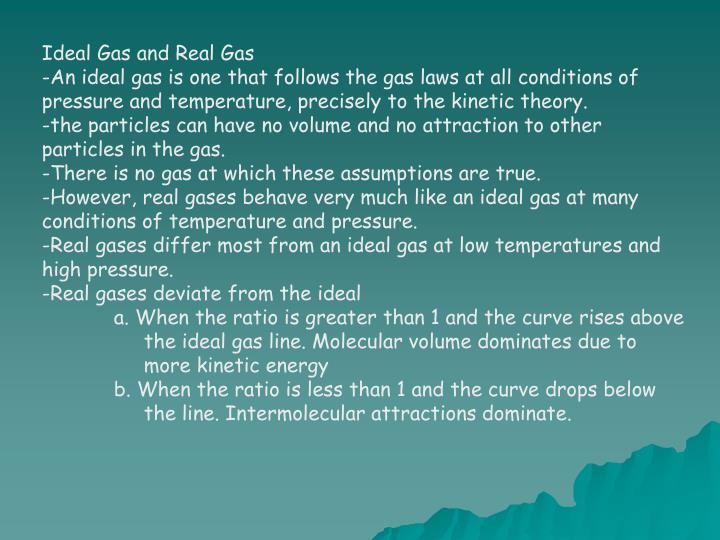 Ideal Gas and Real Gas
