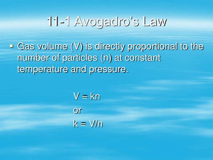 11-1 Avogadro's Law