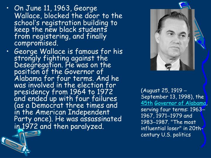 On June 11, 1963, George Wallace, blocked the door
