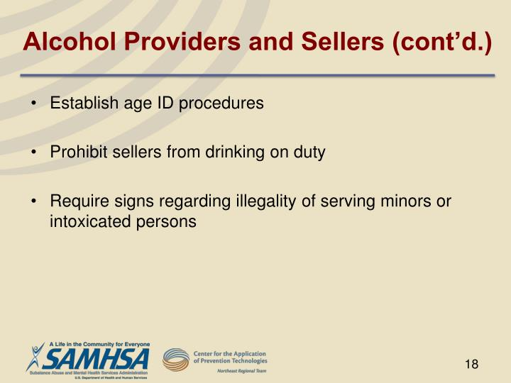 Alcohol Providers and Sellers (cont'd.)